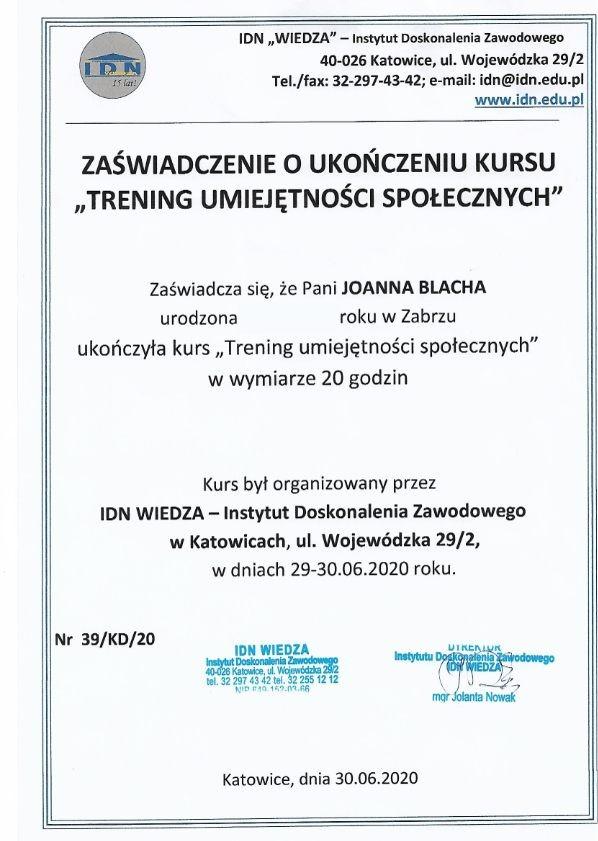 Dyplomy Joanna Blacha