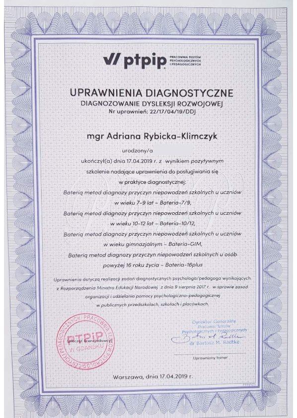 Dyplomy Adriana Rybicka-Klimczyk